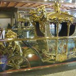 Gold carriage in resort lobby