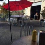 Good sized patio.  Also has corn hold & jenga.