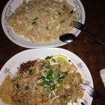 Delicious chicken fried rice & seafood pad Thai we had for dinner Sunday 19th October