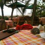 área aire libre para desayunar