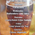 Interesting daily drink specials