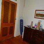 Curtained area between bedroom