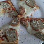 Meatball flatbread pizza.