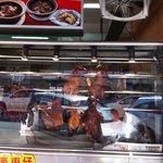 Roasted meat on display
