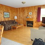 Fireplace, flatscreen TV.....  Very cozy room!