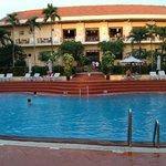 pool overlooking reception