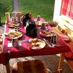 Having breakfast at the terrace