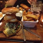 Blue Stilton and red onion burger!!