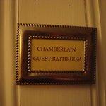 Doorplate to Chamberlain private bathroom