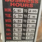 The restaurant's hours, as posted October 2014