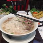 Medium beef and tripe pho with a small spring roll