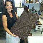 Homemade chocolate with smoked almonds and kosher salt