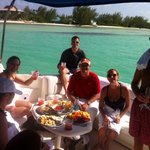 Lunch and champagne on our rum point charter, fantastic