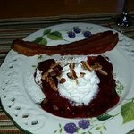 Yum yummerz, stuffed French toast with cranberry syrup