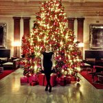 The beautiful lobby around Christmas time gets you into the right holiday mood...