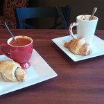 Savory croissants with tomato basil soup