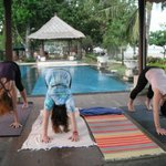 Yoga by the pool and beach