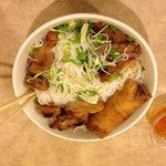 Cold noodles with BBQ chicken
