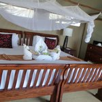 another view of the huge bed and mosquito net