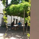 Eating in the shady courtyard