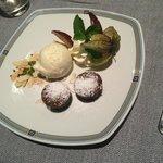 Chocolate fondant cake and vanilla ice cream