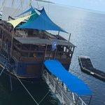 The restaurant/bar is a ship!