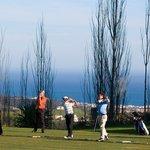 Golfers in practice