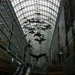 As esculturas de pássaros no shoping