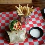 Chicken wrap and fries.