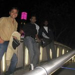 with friends at clock tower
