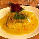Fish with camembert sauce