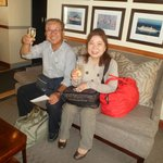 My guests enjoying champagne on checking in.