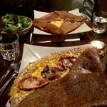 Perfect Parisian meal.   Savory Buckwheat crepes made to order.