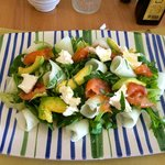 Salad with marinated salmon, goat cheese, avocado with lemon dressing