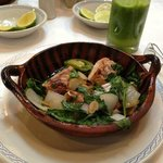 Bowl of sea bass with epazote (a delicious Mexican herb)