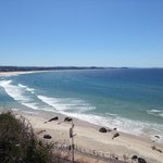 Kirra Beach below, Currumbin Beach on the left, and Surfers Paradise in the distance