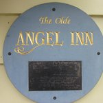The Olde Angel Inn sign placard