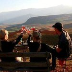 Toasting their journeys end with sundowners