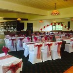 Function room dressed for a wedding