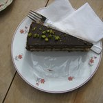 Chocolate and courgette flan
