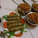 Spring rolls, mutton beryani & spicy chicken fried rice.
