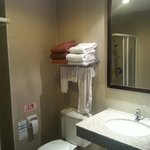 Salle de bain wc européen avec papier toilette lavabo et set de bain fourni, gel douche shampooi