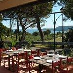 Terrasse du restaurant face à l'étang de Berre