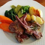 Grilled Lamb Chops, Roast Potatoes and Vegetables