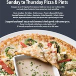 Sun to Thurs Pizza and Pints $25