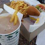 """Fries  """"well done"""" dipped in a chocolate shake with a hamburger with grilled onions. .. deliciou"""