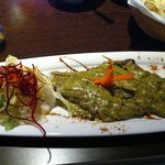 Monkfish with green sauce & lime rice