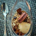 Mascarpone Tiramisu Mousse, Espresso Gel, Caramel Chocolate Glaze, Almond Crumb