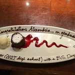 This is what Jason wrote on my daughter's dessert plate after she graduated college.