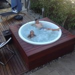 Kids in the warm spa